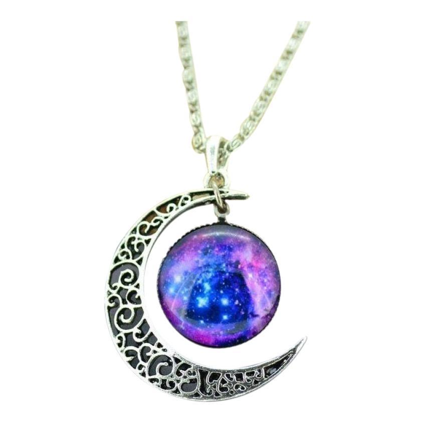Glass Galaxy Pendant Necklace