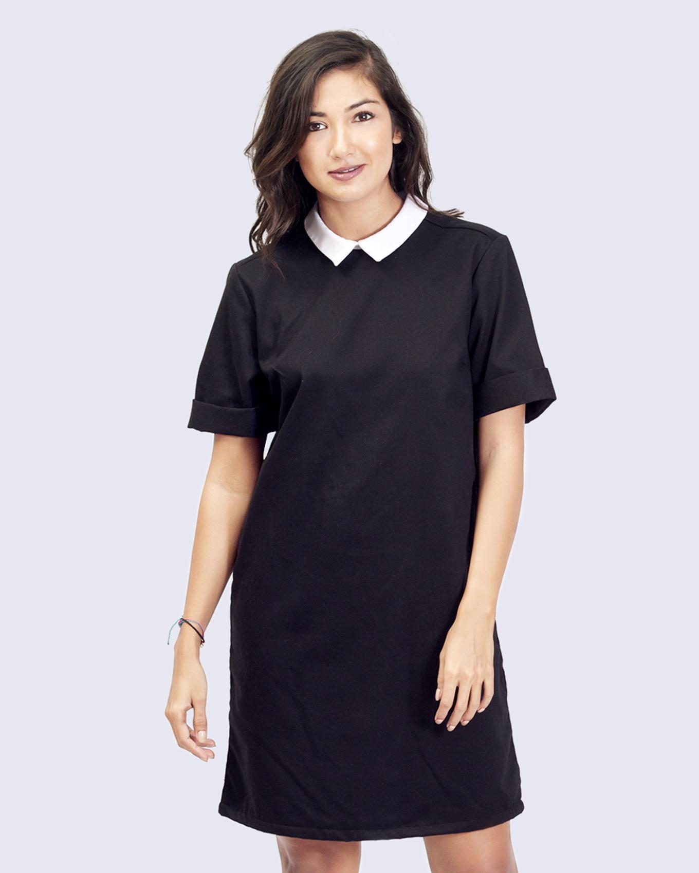 Women's Black & White Charcoal Shirt Dress