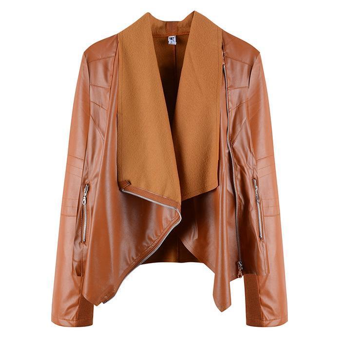 1f99a0a5758 Women Irregular Fleece Jacket Plus Size Loose Lapel Zipper PU Leather Coat  Outwear