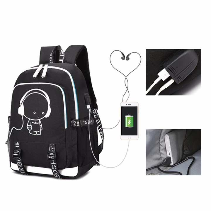 2018 New School Bag Cool Luminous Backpack  Fashion Multi-functional Charging Travel Bag Sky Blue/17 Inches