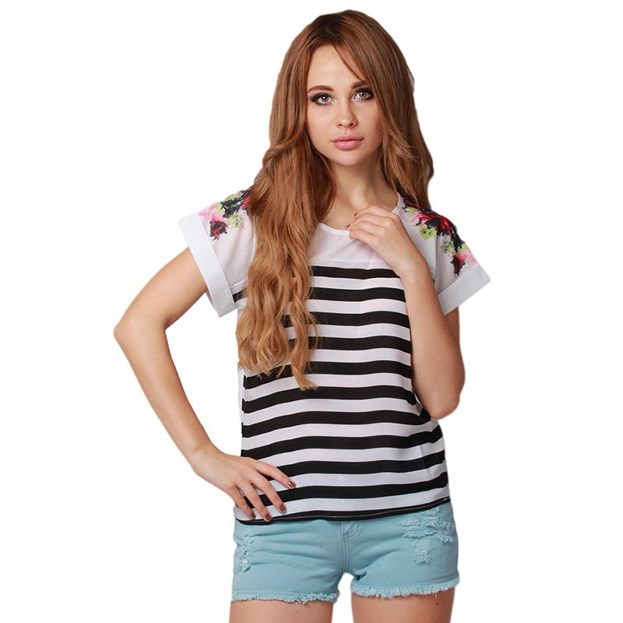 Floral Striped Women's Top