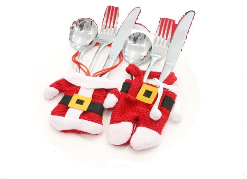 Pack Of 4 Santa Suit Cutlery Bag