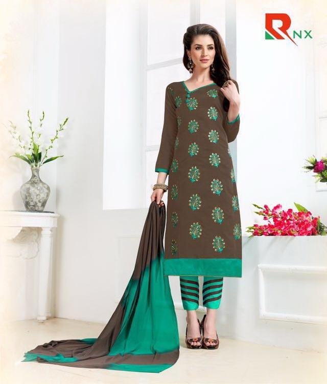 Women's Chanderi Cotton Salwar Kameez - Dark Brown
