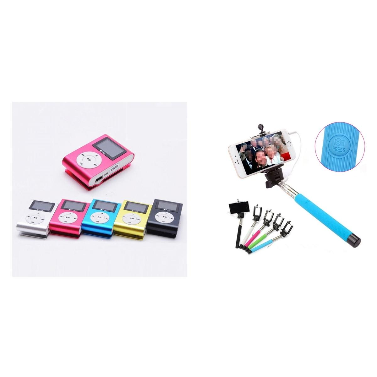Combo Of Usb Mini Clip Pink Mp3 Player + Extendable Blue Wired Monopod Selfie Stick