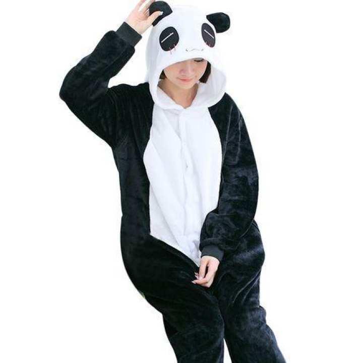 Flannel Cartoon Panda Pajamas