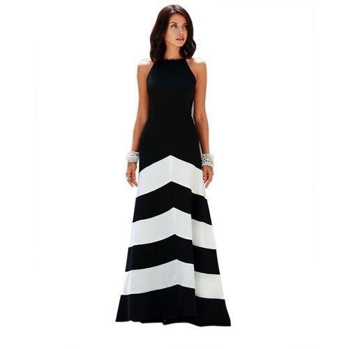 Woman Sleeveless Halter Cocktail Long Dress