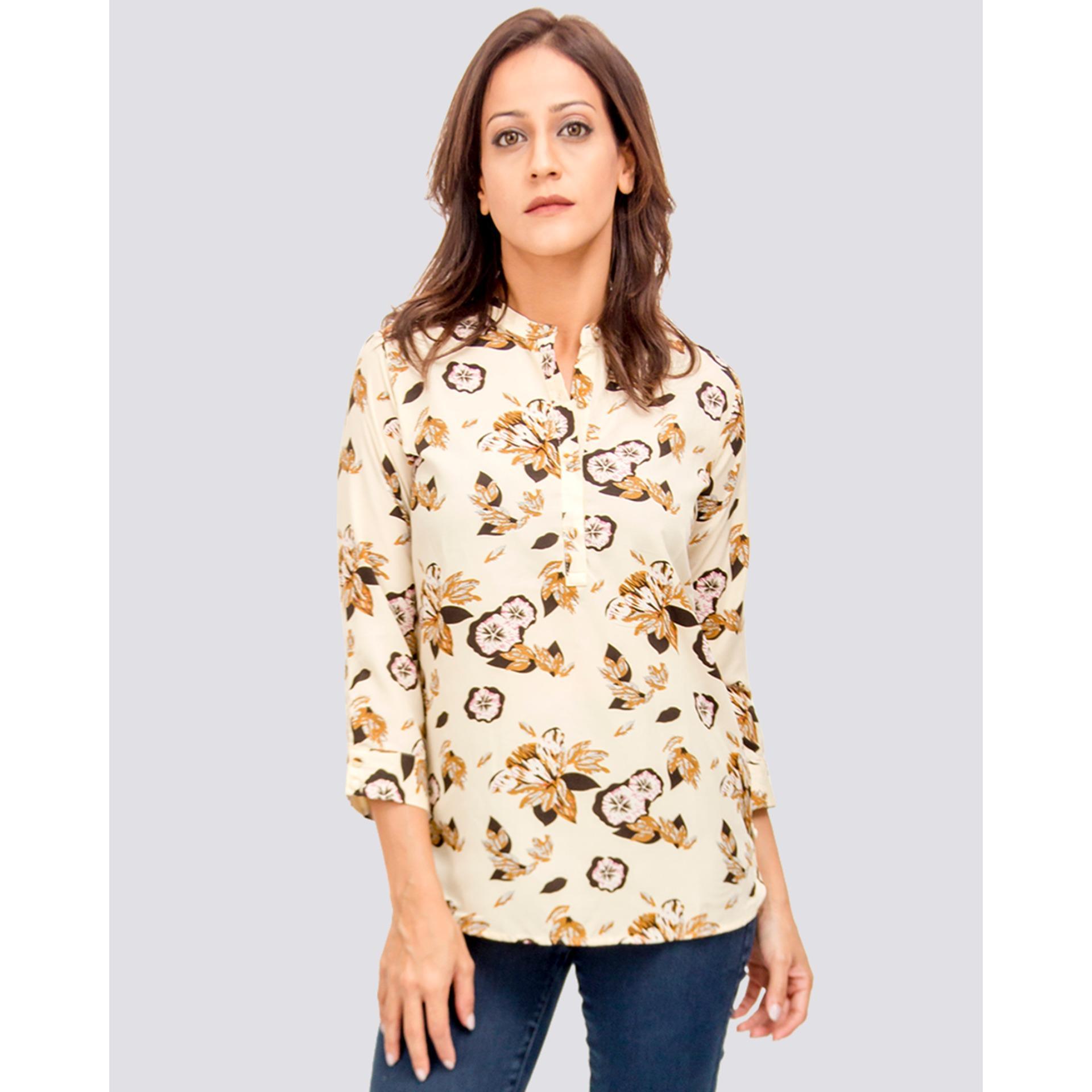 Women's White Color Floral Front Button Open Blouse