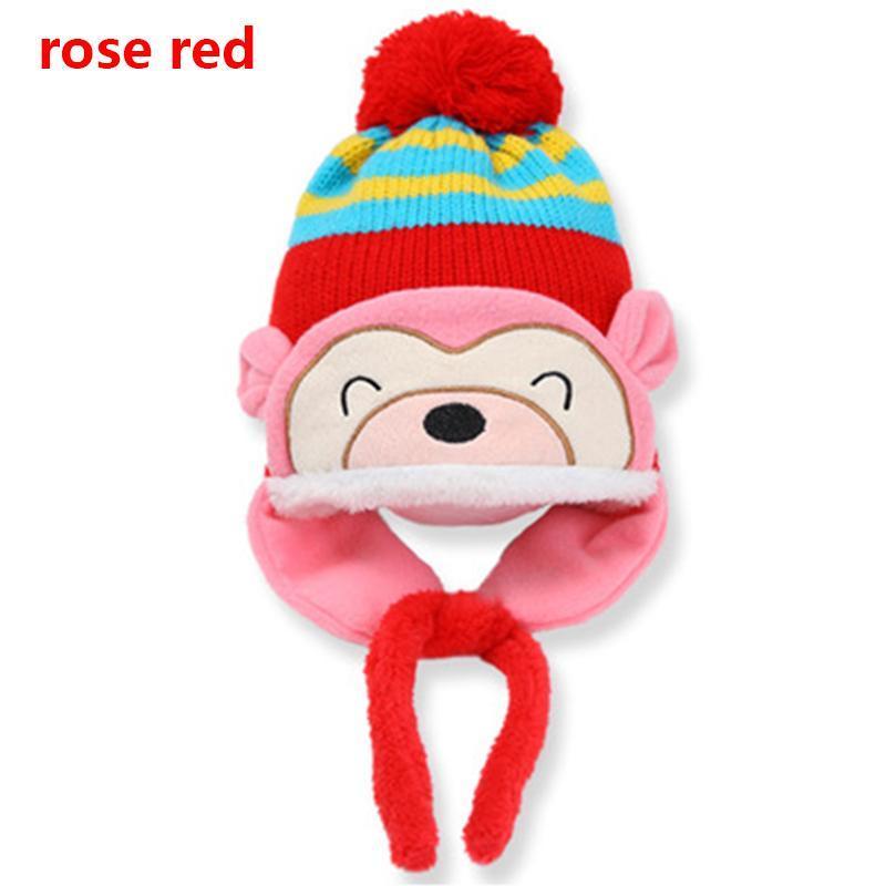 aaa00504d45 Baby Plush Beanie Monkey Shaped Ear Warmer Autumn Winter Hat Cap