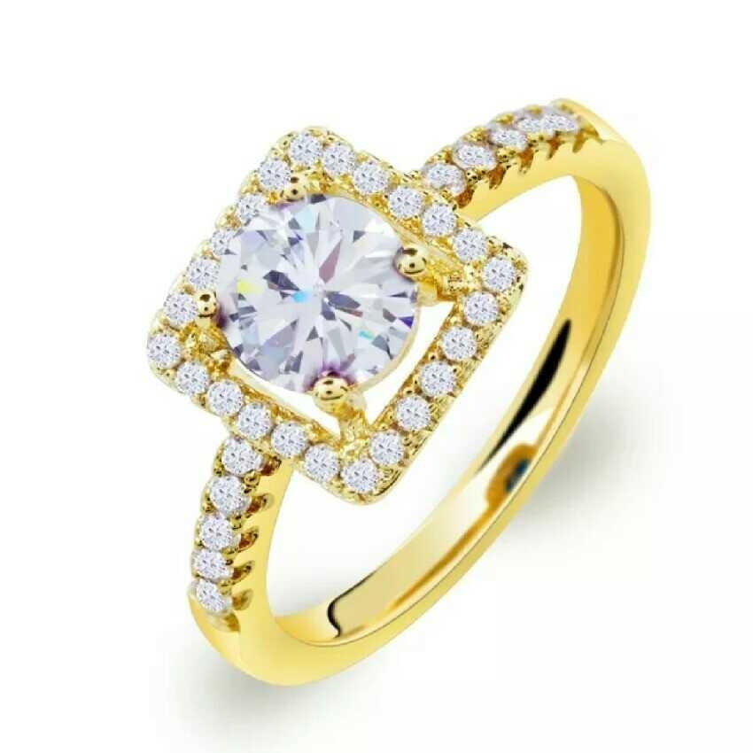 Women's White Square Stone Ring
