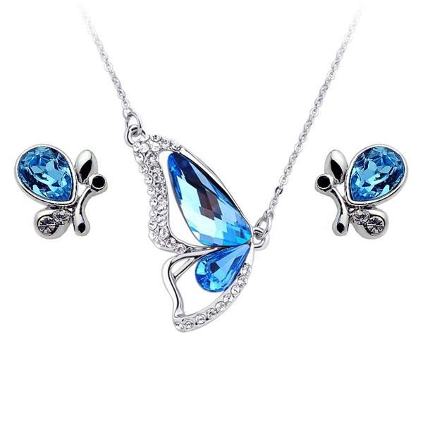 Women's Butterfly Fashionable Crystal Jewellery Set