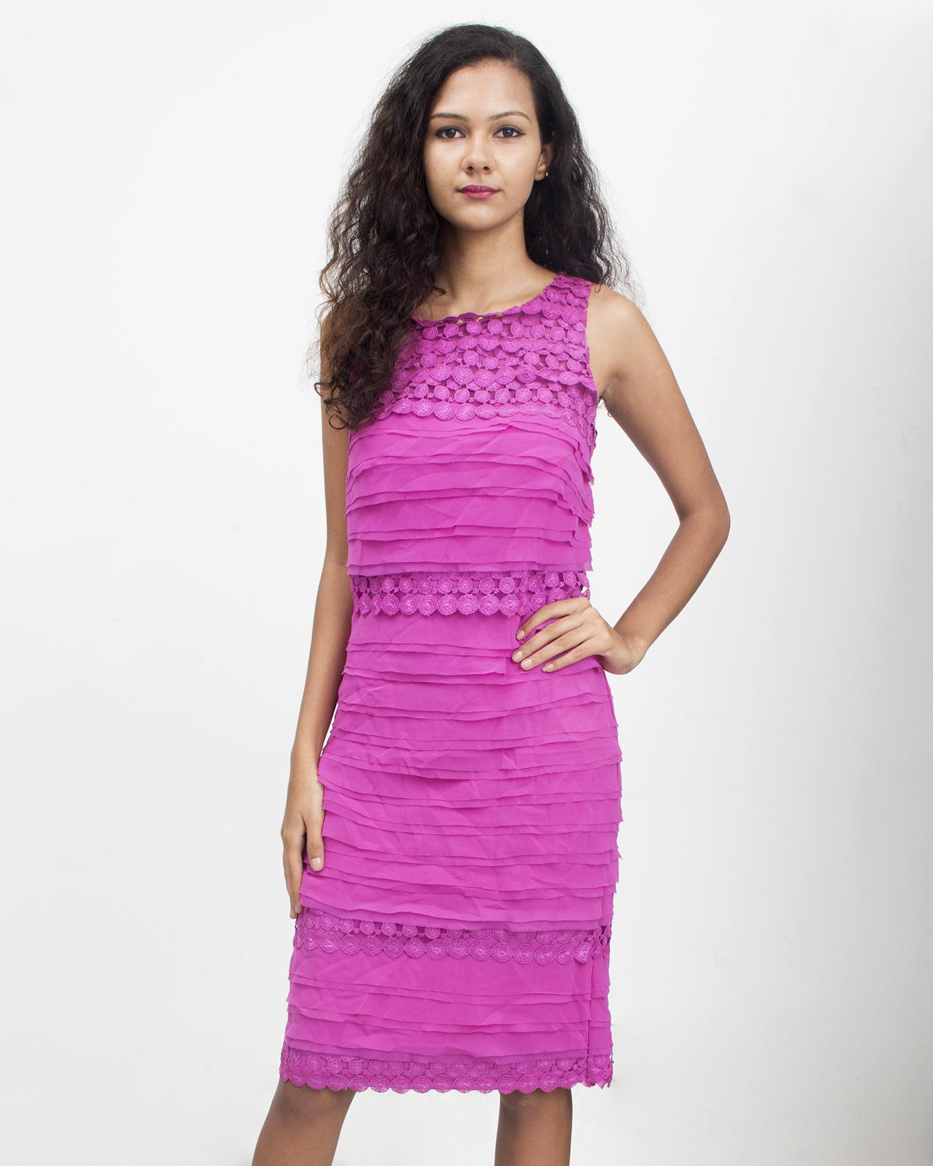 TOFO Women's Pink Sleeveless Shutter Dress with Lace Trimmed Illusion Neckline