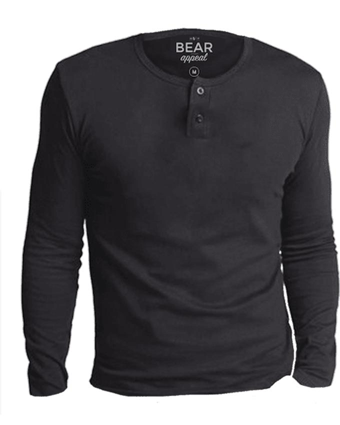 Bear Appeal Charcoal Gray Long Sleeves Henley Neck T-Shirt