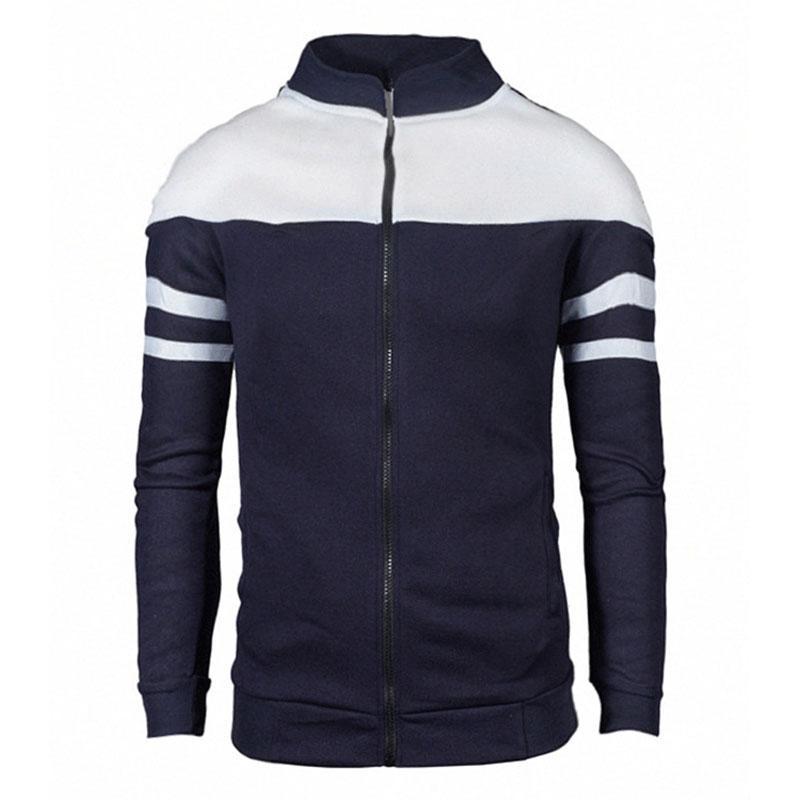 Bluelife Men Casual Jacket Contrast Color Zip Coat for Autumn Spring