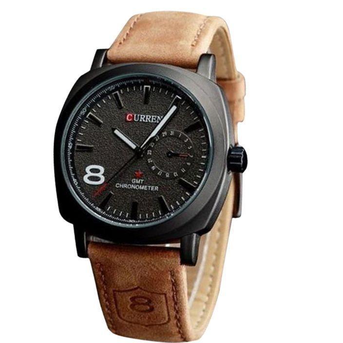 Men's Black Dial Analog Brown Leather Strap Wrist Watch
