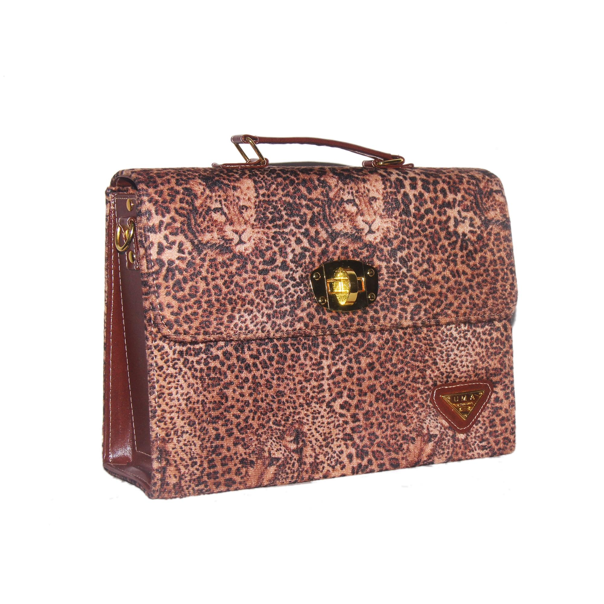 Women's Leopard Brown Leather Hand Bag