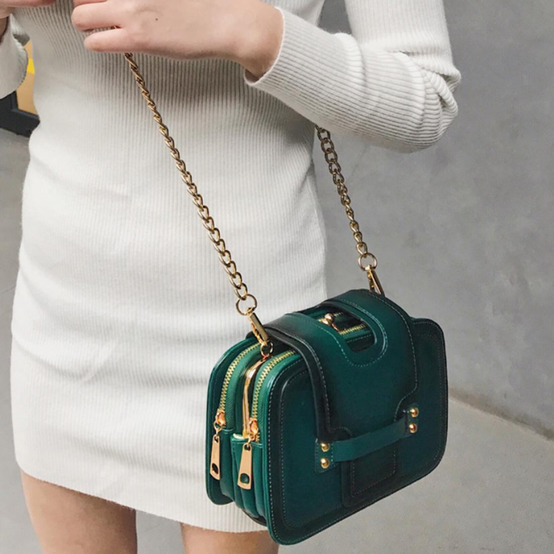 Korean Style PU Leather Bag Chain Shoulder Bag Crossbody Bag for Girls and Women - Dark Green