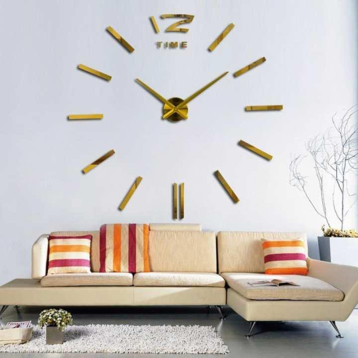 3D Real Big Wall Clock Rushed Mirror Wall Sticker DIY Living Room Home Decor Fashion Watches Arrival Quartz Wall Clocks 47inch/Gold