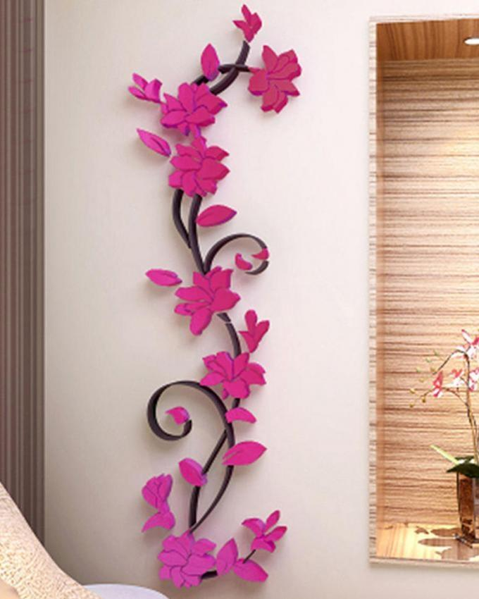 3D Flower Tree Wall Decoration Sticker - Pink