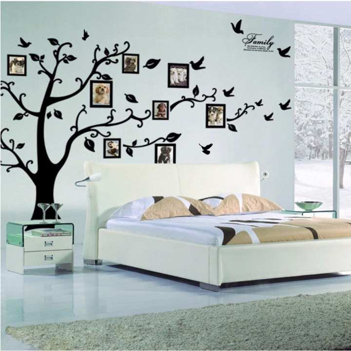 3D DIY Photo Tree PVC Wall Decals/Adhesive Family Wall Stickers Mural Art Home Decor (Large 200*250Cm/79*99in Black ) 200*250cm
