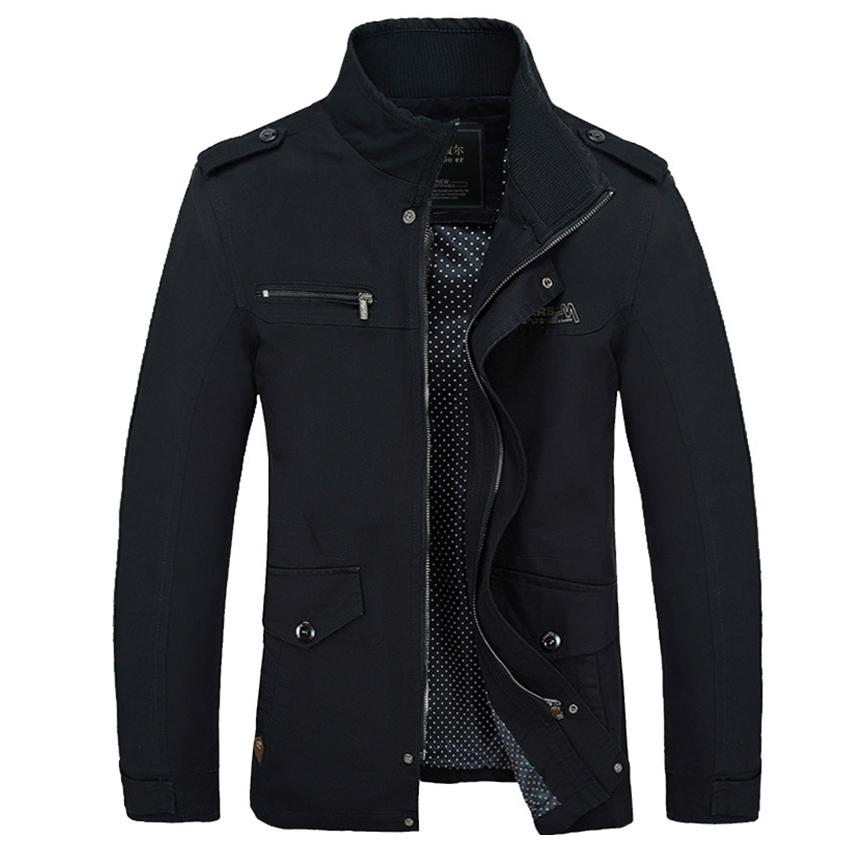 Long Sleeve Stand Neck Solid Color Zipper Cotton Coat For men