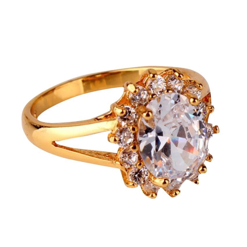 Women's Gold Plated White CZ Flower Ring