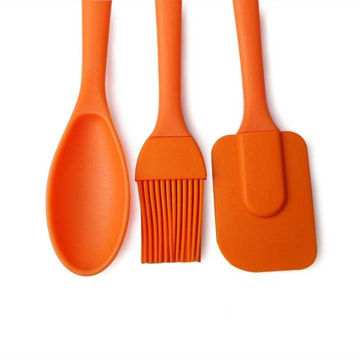 3 Pc Silicone Brush Spoon and Spatula Set