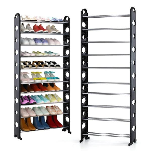 10 layer stainless steel shoe rack