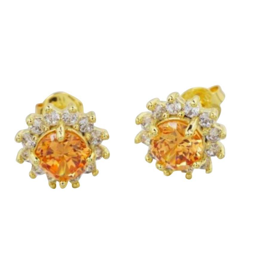 Women's Gold Plated Orange CZ Flower Earrings