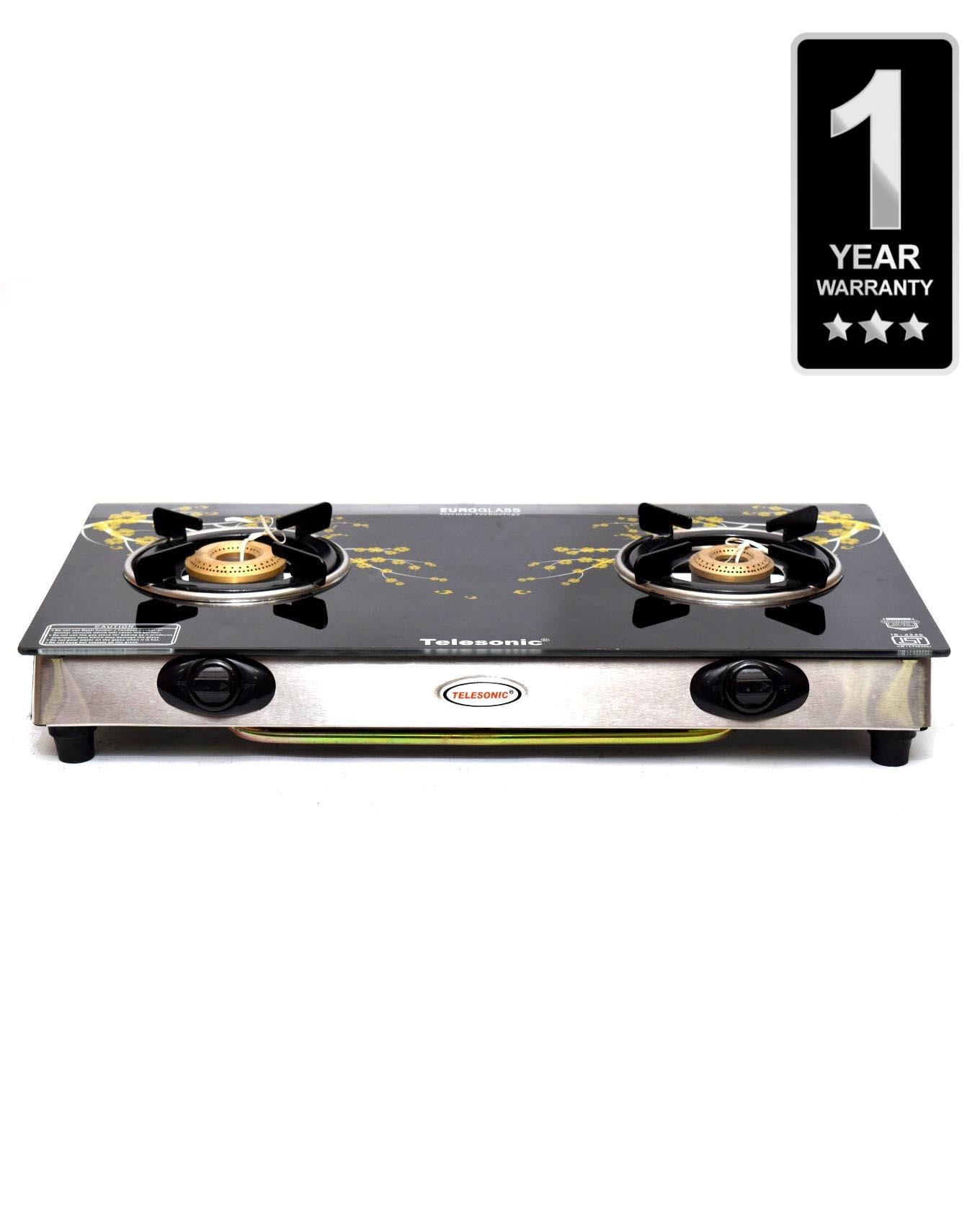Glass Top Double Burner Gas Cooker - TL-GL1550