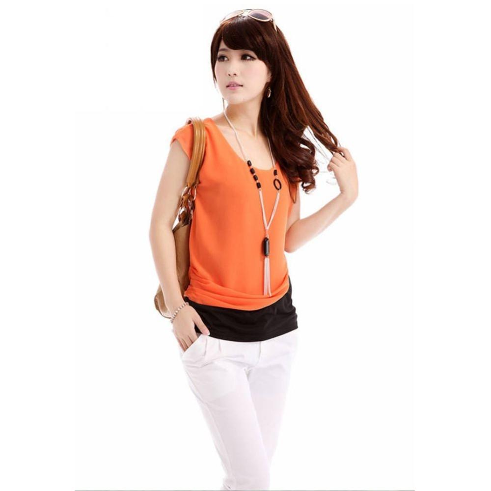 Women's Orange Short Sleeve Top