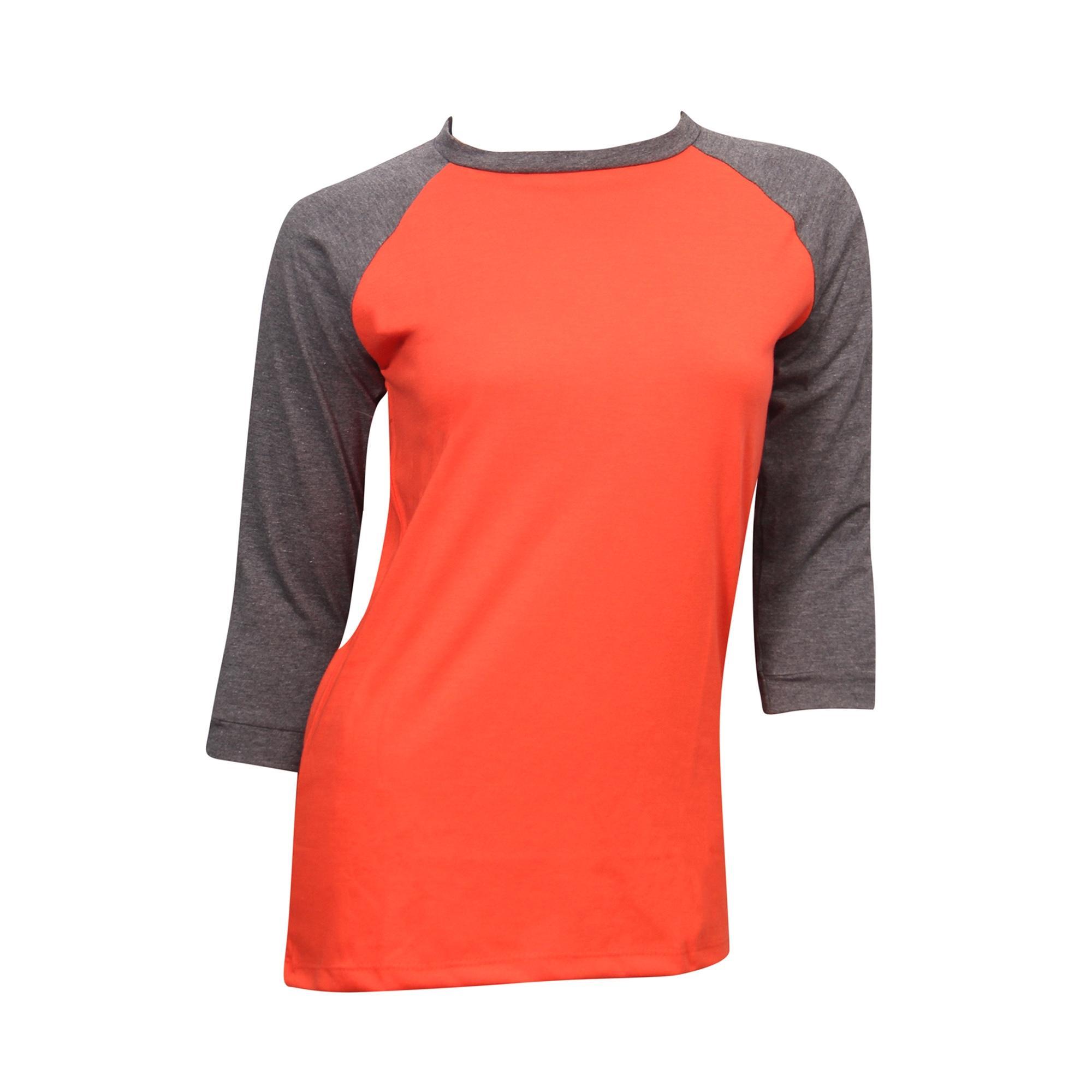 Women's Grey Mix Orange T-Shirt