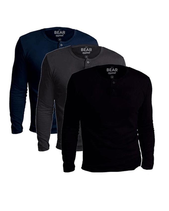 Bear Appeal Bundle of 3 Long Sleeves Henley Neck T-Shirt