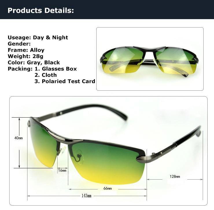 055a665346 Day Night Vision Mens Polarized Sunglasses Driving Pilot Mirror UV400 HD  Glasses