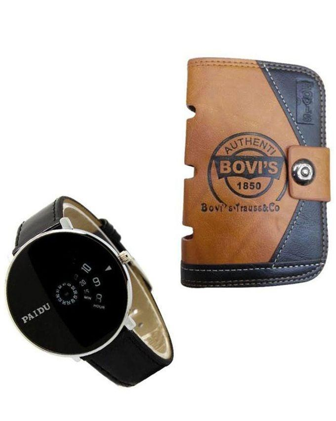Combo of Wallet + Paidu Wrist Watch for Mens