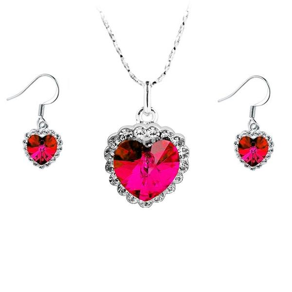 Women's Red Heart Crystal Jewellery Set