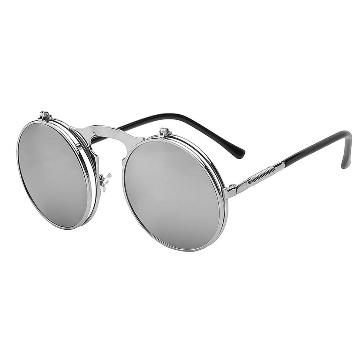 Flip Up Steampunk Sunglasses UV 400 Protection Round Shaped Vintage Sunglass Fashion Cool Stylish Sunglasses Silver