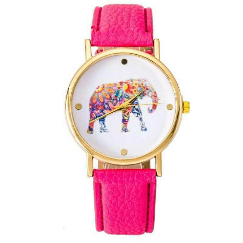 Women's Pink Leather Strap Analog Quartz Watch