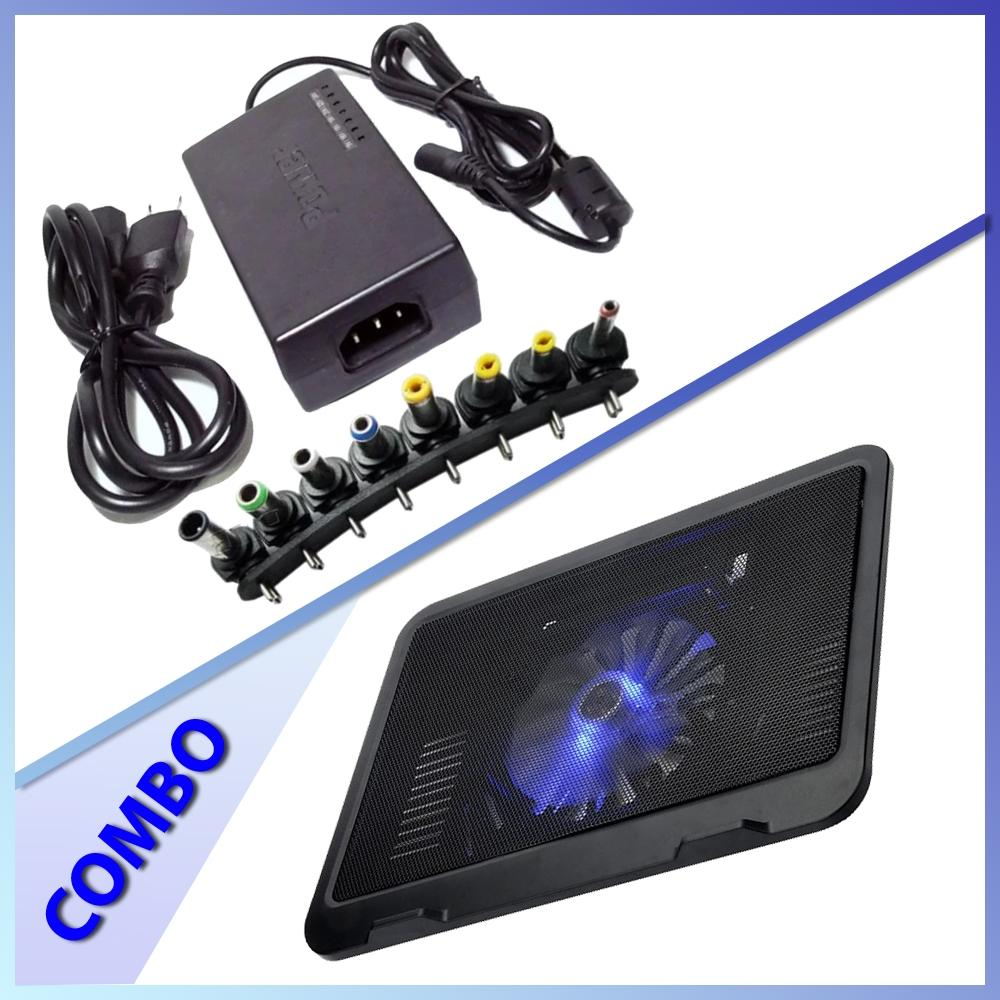 Combo of N19 Laptop Cooling Fan + Universal Laptop Adapter