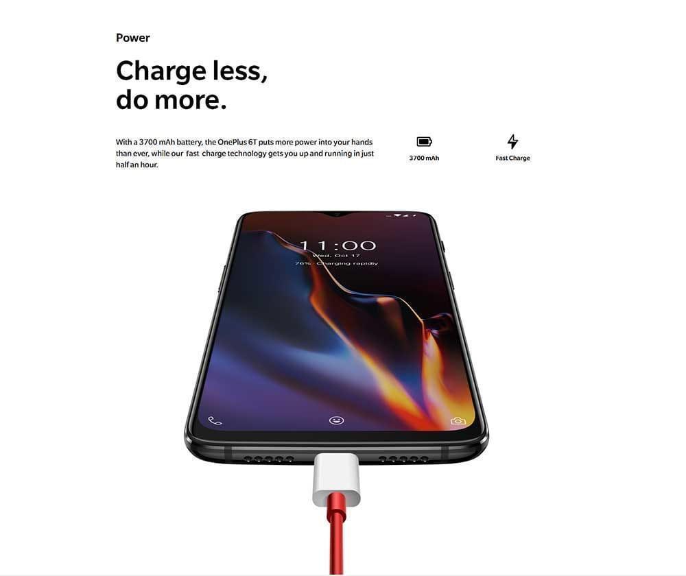 OnePlus 6T 4G Phablet 6.41 inch Sanpdragon 845 Octa Core 2.8GHz 6GB RAM 128GB ROM Fingerprint Sensor- Mirror Black