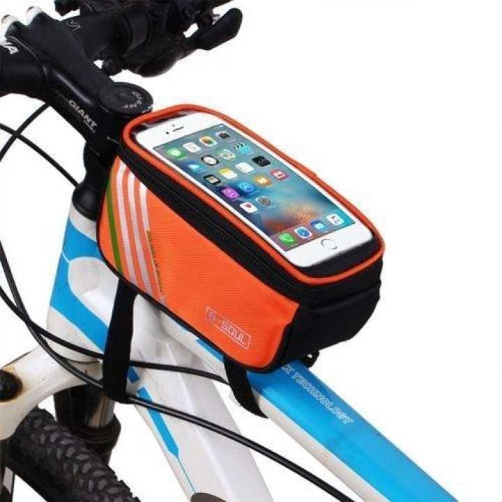 Mountain Bike Touch Screen Phones Tube Bag -Orange