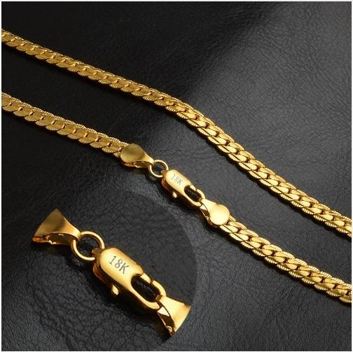 18K Gold Plated Long Chain Necklace for Men