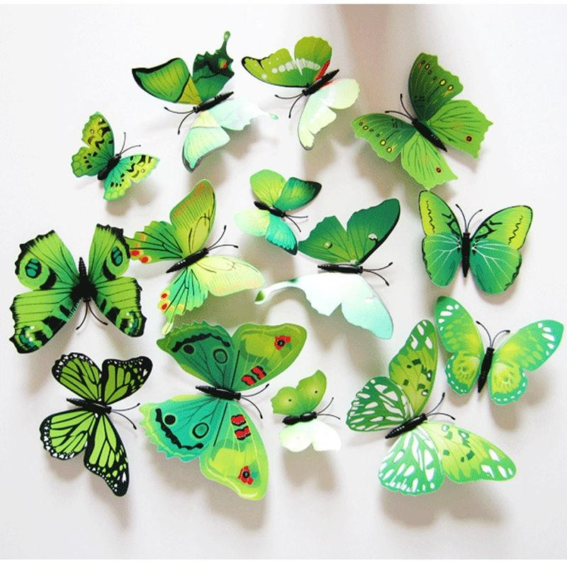 Pack Of 12 3D Butterfly Wall Stickers