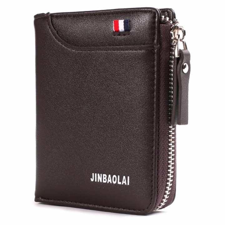 Mens Wallet Leisure Business Coin Purse Short Wallet Zipper Fold Wallet For Men Coffee