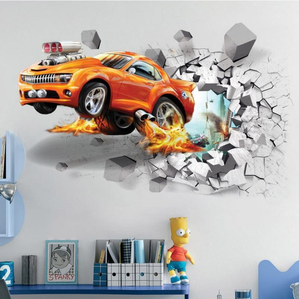 1pc Creative Football 3D Wall Stickers Basketball Broken Art Decal Car Poster Kids Room
