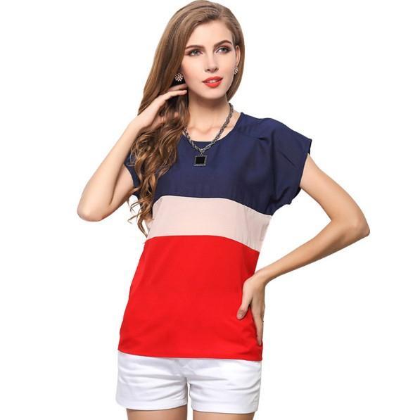 Women's French Flag Round Neck Short Sleeve T-Shirt