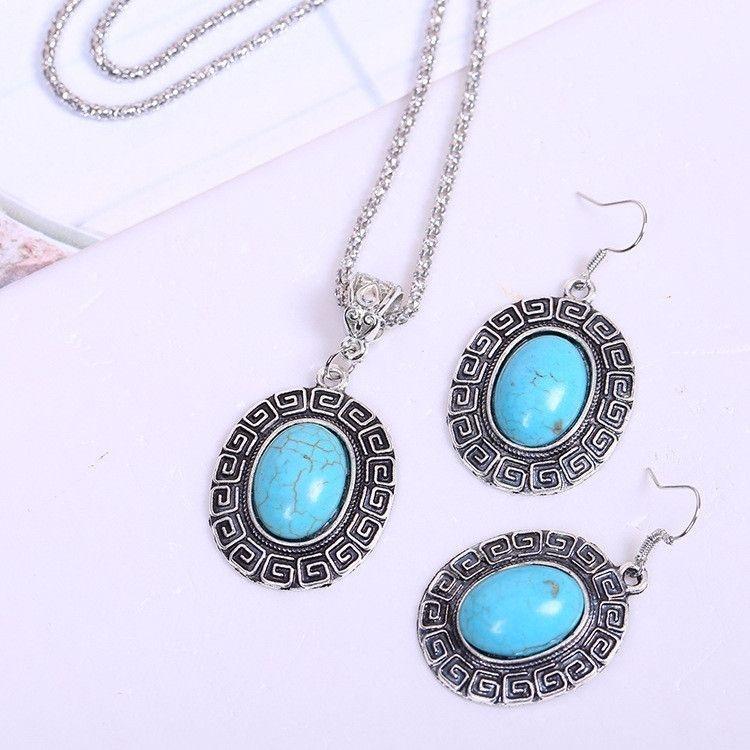 Women's Bohemia Antique Blue Turquoise Jewelry Set