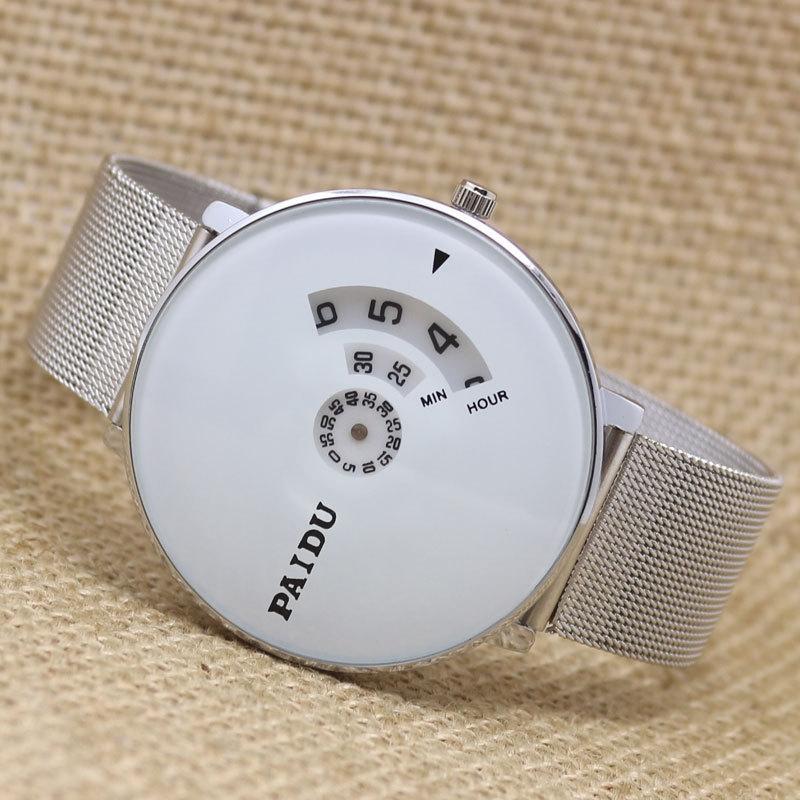 Men's Paidu White Dial Mesh Strap Watch