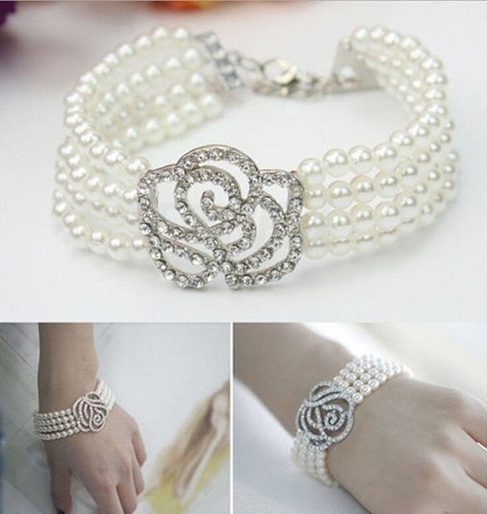 Crystal Pearl Bangle for Women