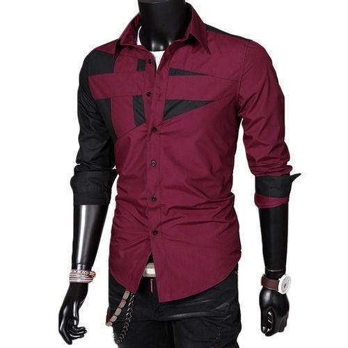 Men Solid Patchwork Long Sleeve Shirt