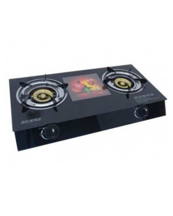 BESSE Two Burner Glass Top Gas Cooker
